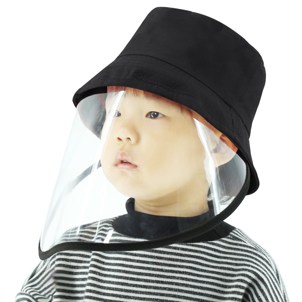 PULUZ PU471 Children Bucket Hat Protection Plaid Fisherman Cap with Removable Protective Face Shield Clear Visor Anti Virus Anti Splash Face Mask - Black