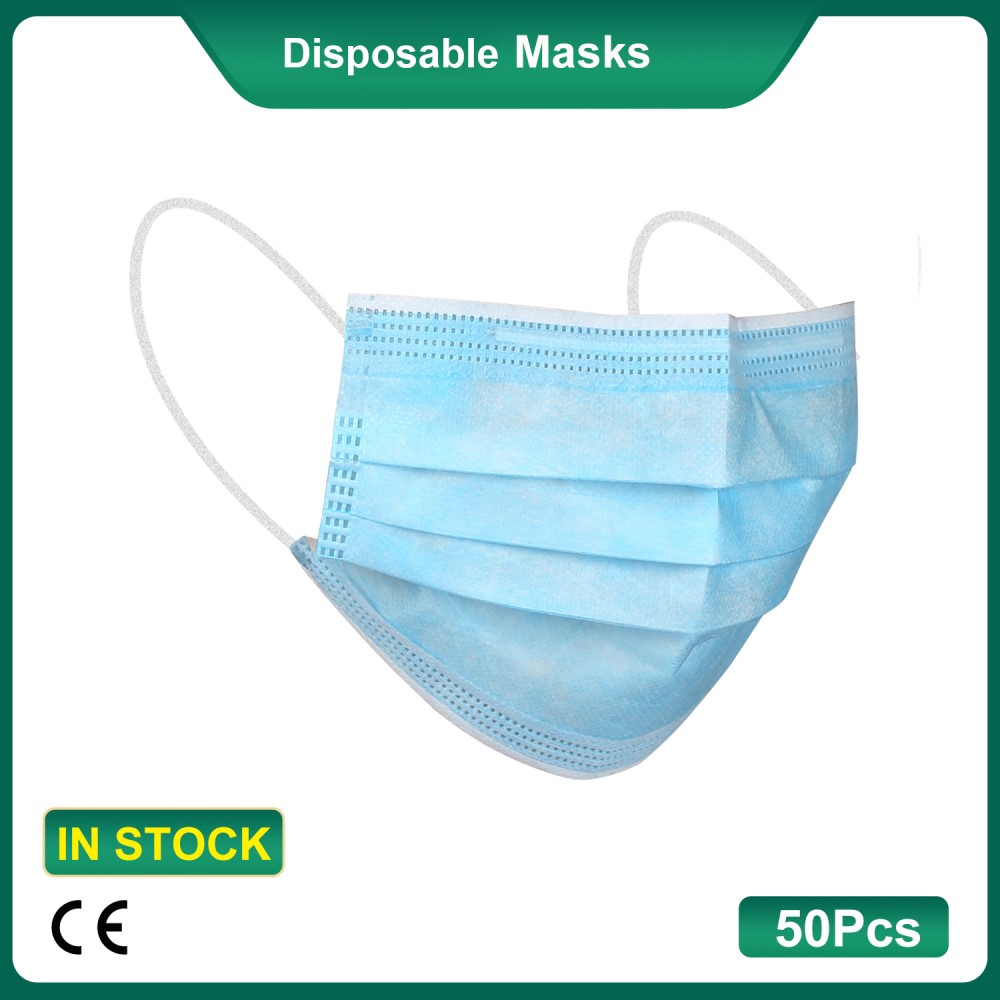 50Pcs/Box CE Certified Disposable Medical Masks 3-Layer Strengthened Filtration Protective Facial Mouth Masks