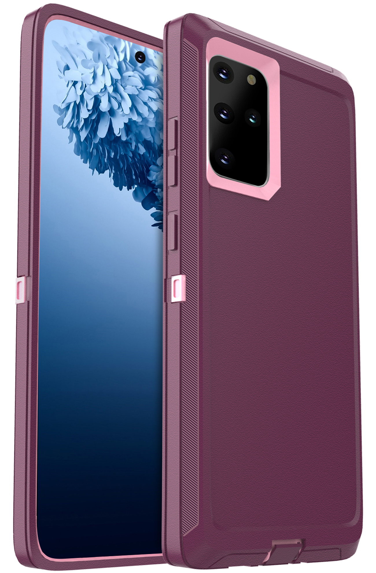 FOGEEK Compatible with Samsung Galaxy S20 Plus 5G Case, Heavy Duty Rugged Case, Protective Cover (Shockproof)(Drop Proof) Case for Galaxy S20+ 5G (6.7 inch) 2020 (Wine/Pink)