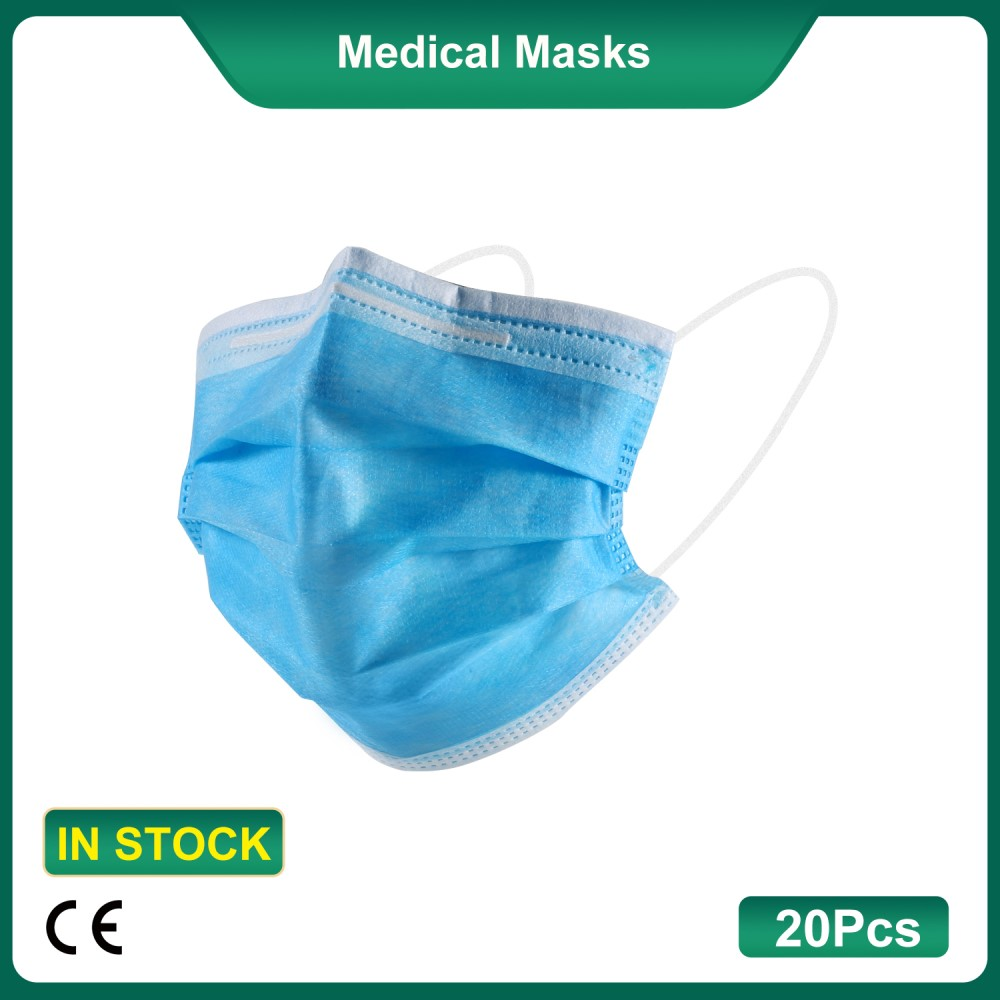 20Pcs/Pack (CE Certified) Disposable Face Masks Breathable 3-Layer Medical Masks (Vacuum Packaging) (Daily Production: 100K)