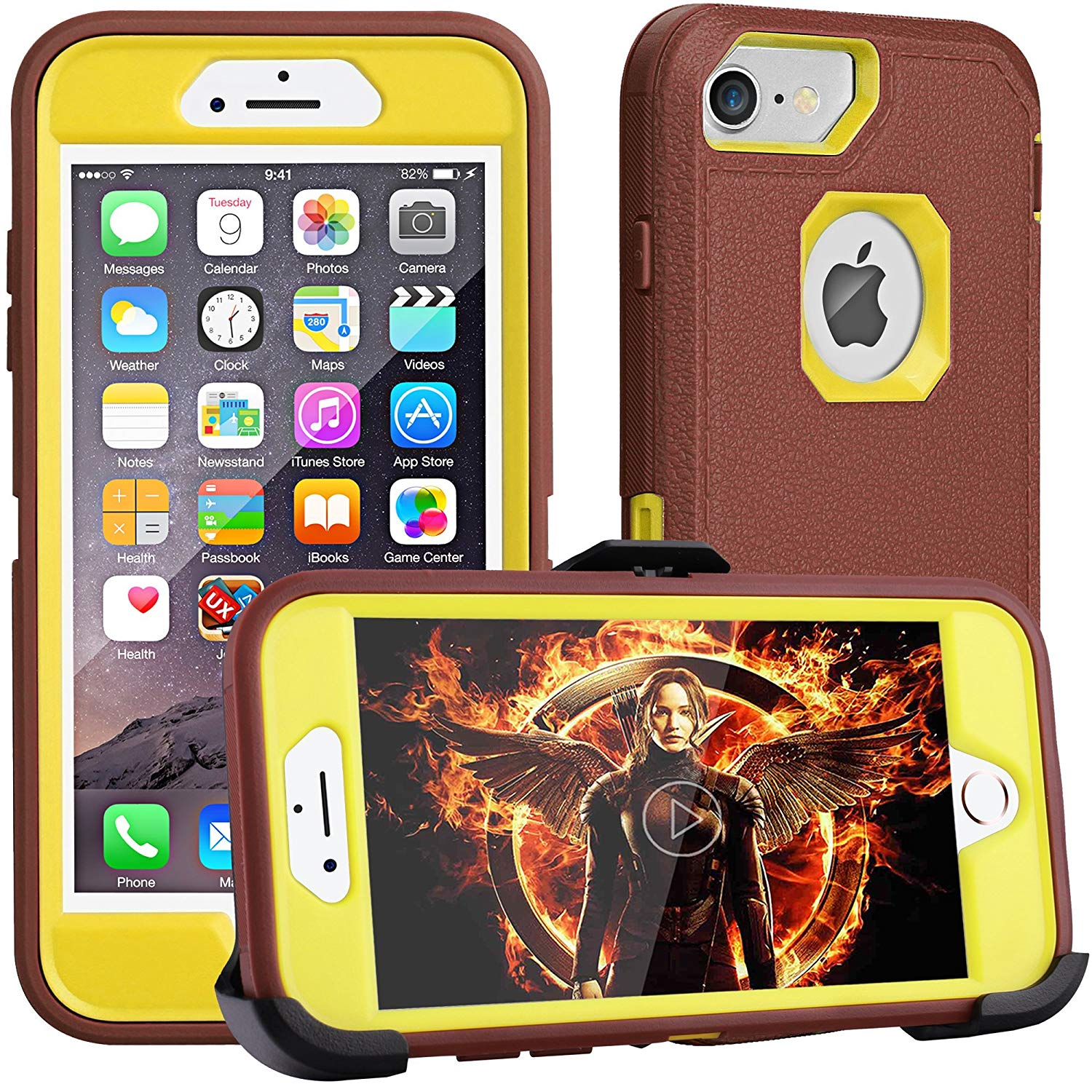 iPhone 8 case,iPhone 7 Case, iPhone 6s Case, FOGEEK [Dust-Proof] Belt-Clip Heavy Duty Kickstand Cover [Shockproof] PC+TPU Shell for Apple iPhone 7 and iPhone 6/6s(Brown and Yellow)