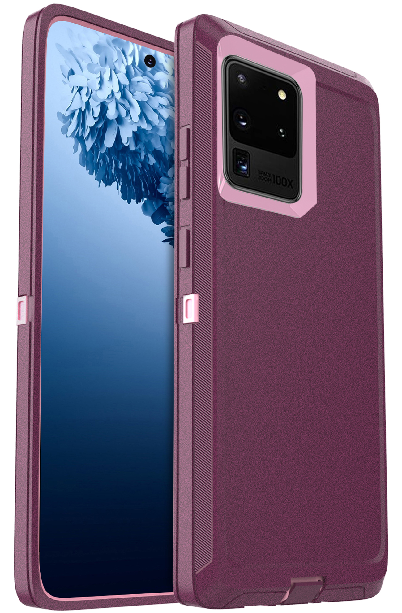 FOGEEK Compatible with Samsung Galaxy S20 Ultra 5G Case, Heavy Duty Rugged Case, Protective Cover (Shockproof)(Drop Proof) for Galaxy S20 Ultra 5G (6.9 inch) 2020 (Wine/Pink)